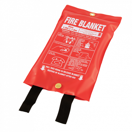 Small 1m x 1m Fire Blanket - Soft Plastic Pouch