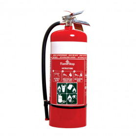FlameStop 9.0kg Stainless Steel Heavy Duty ABE Powder Type Portable Fire Extinguisher